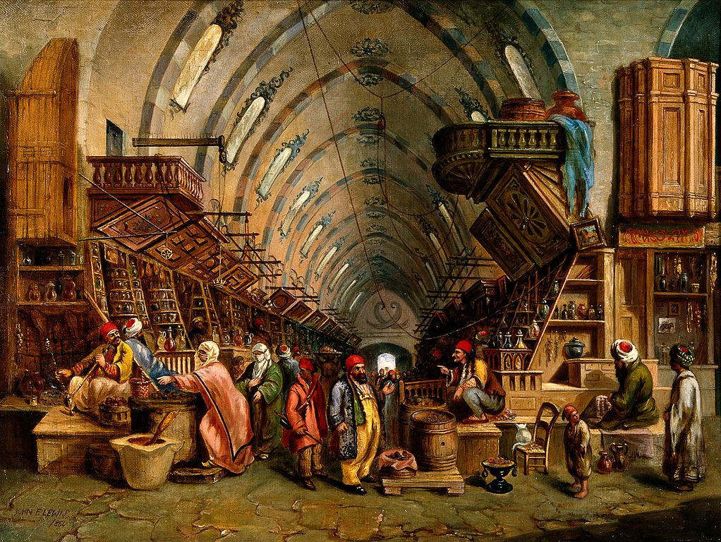 Image of an oil painting presenting a bazaar