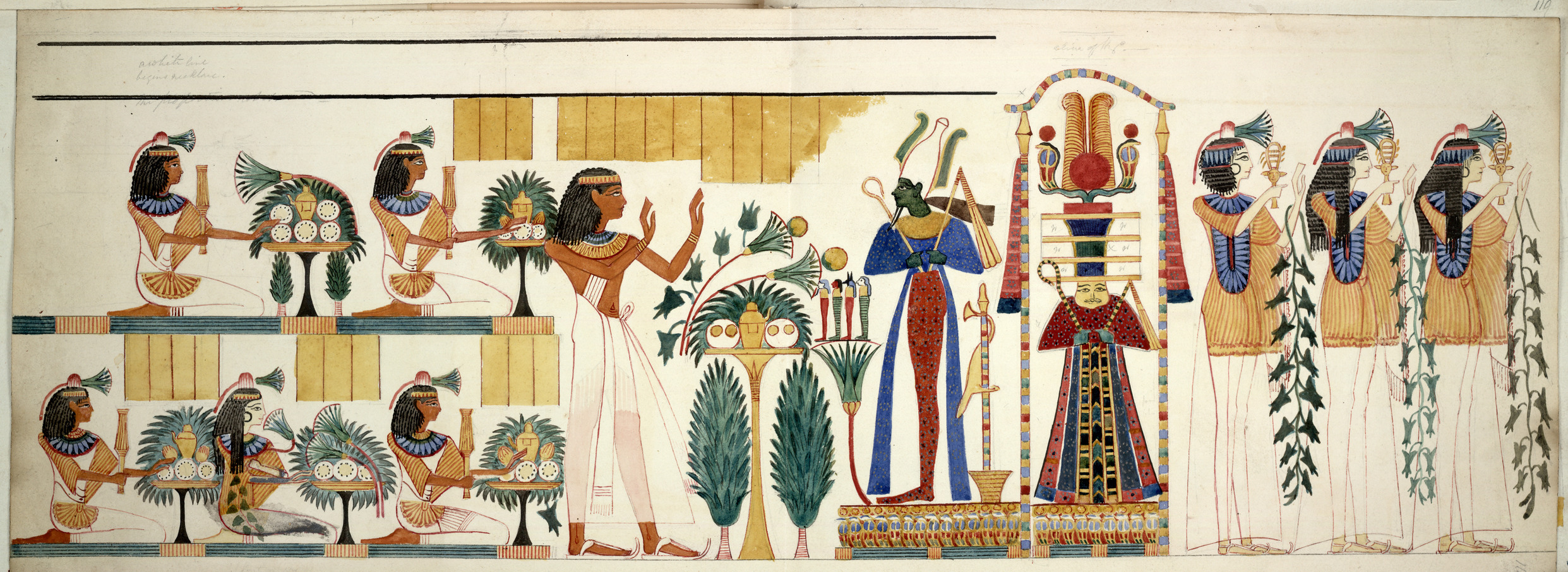 Egyptian tomb wall-painting from the 10th tomb at Gourna, Tebes